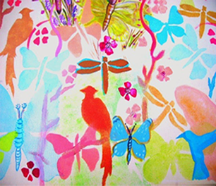Painting of Birds and Insects