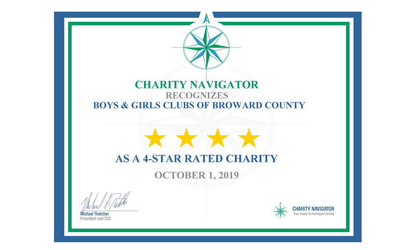 Charity Navigaor Recognized Boys and Girls Clubs of Broward county