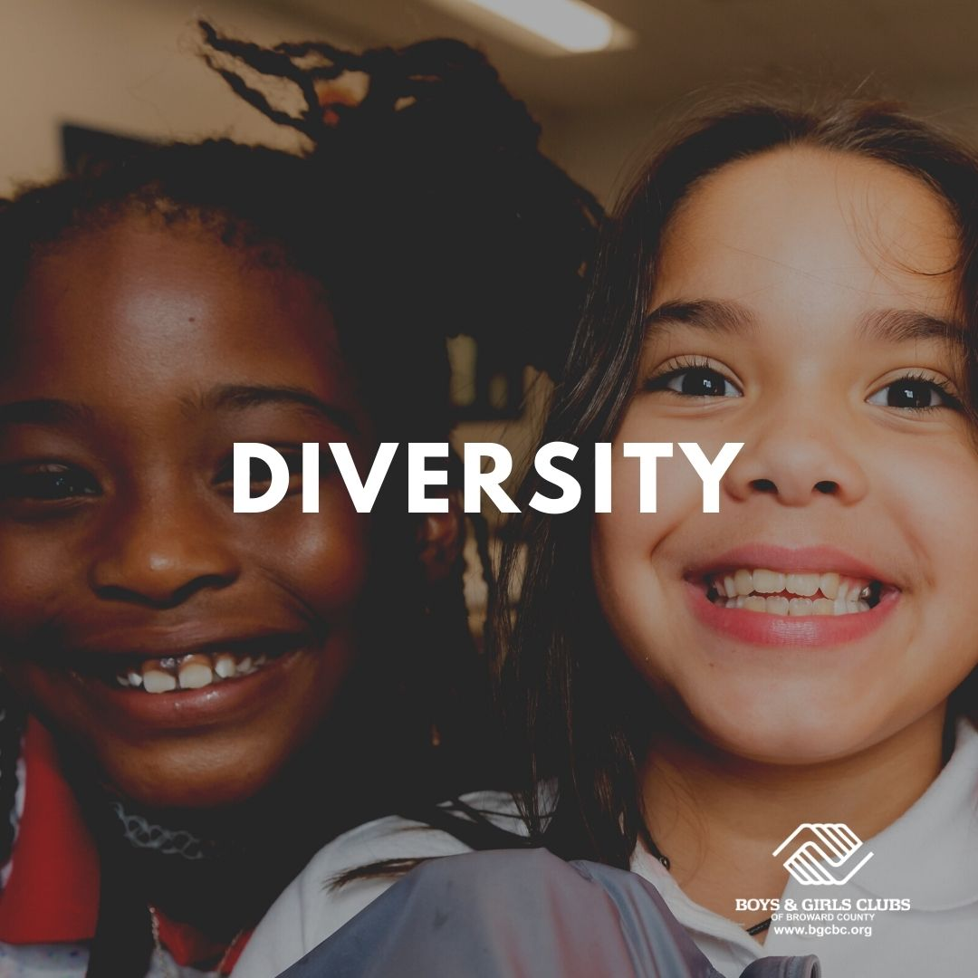 A picture of two young girls with the words Diversity.