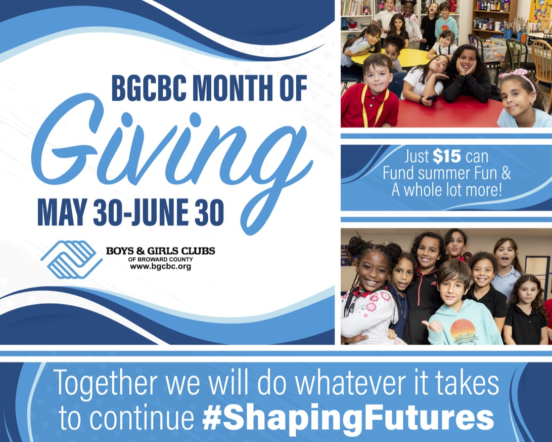 BGCBC Month of Giving May 30 - June 30