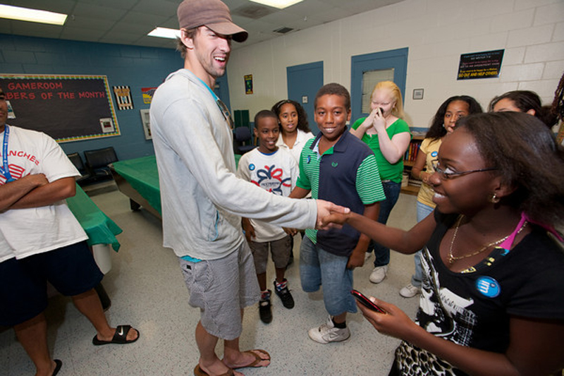 Michael Phelps meeting with members of the Michael Phelps Swim Program